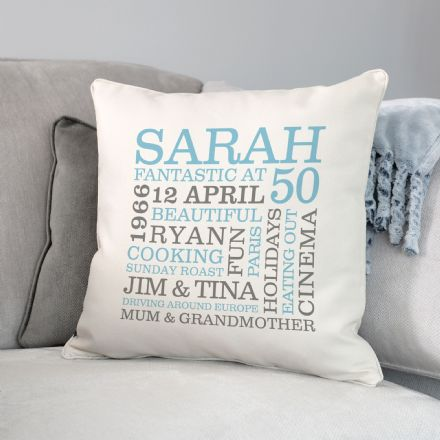 Personalised 50th Birthday Word Art Cushion